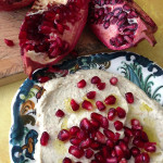 baba ghannouj with pomegranate garnish